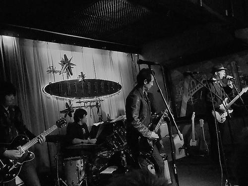 The True Believers reunion at the Continental Club, Austin, TX, 3/21/10.  L to R: Javier Escovedo, Hector Munoz, Alejandro Escovedo, Jon Dee Graham
